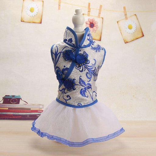 Chinese style blue and white porcelain girl dog dress - Naughty Bubbles