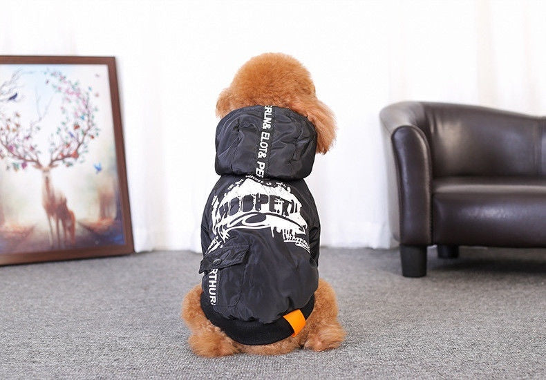 Large Pet Dog Clothes Printed Doodles Warm Hoodie Coat - Naughty Bubbles
