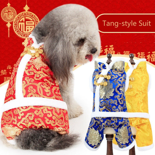 Pet Dog Cat Chinese Style Tang-style Suit Costume - Naughty Bubbles