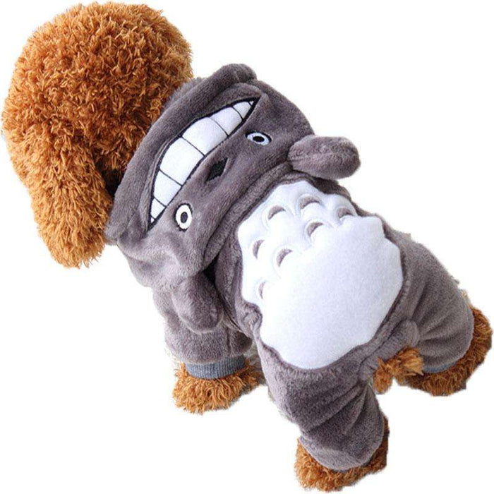Totoro Chinchilla cute warm flannel dog hoodie - Naughty Bubbles