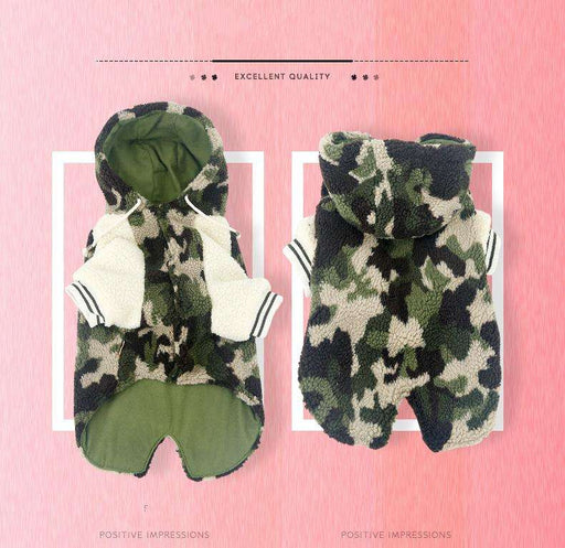 Medium Large Dog Camouflage Cotton Hoodie - Naughty Bubbles