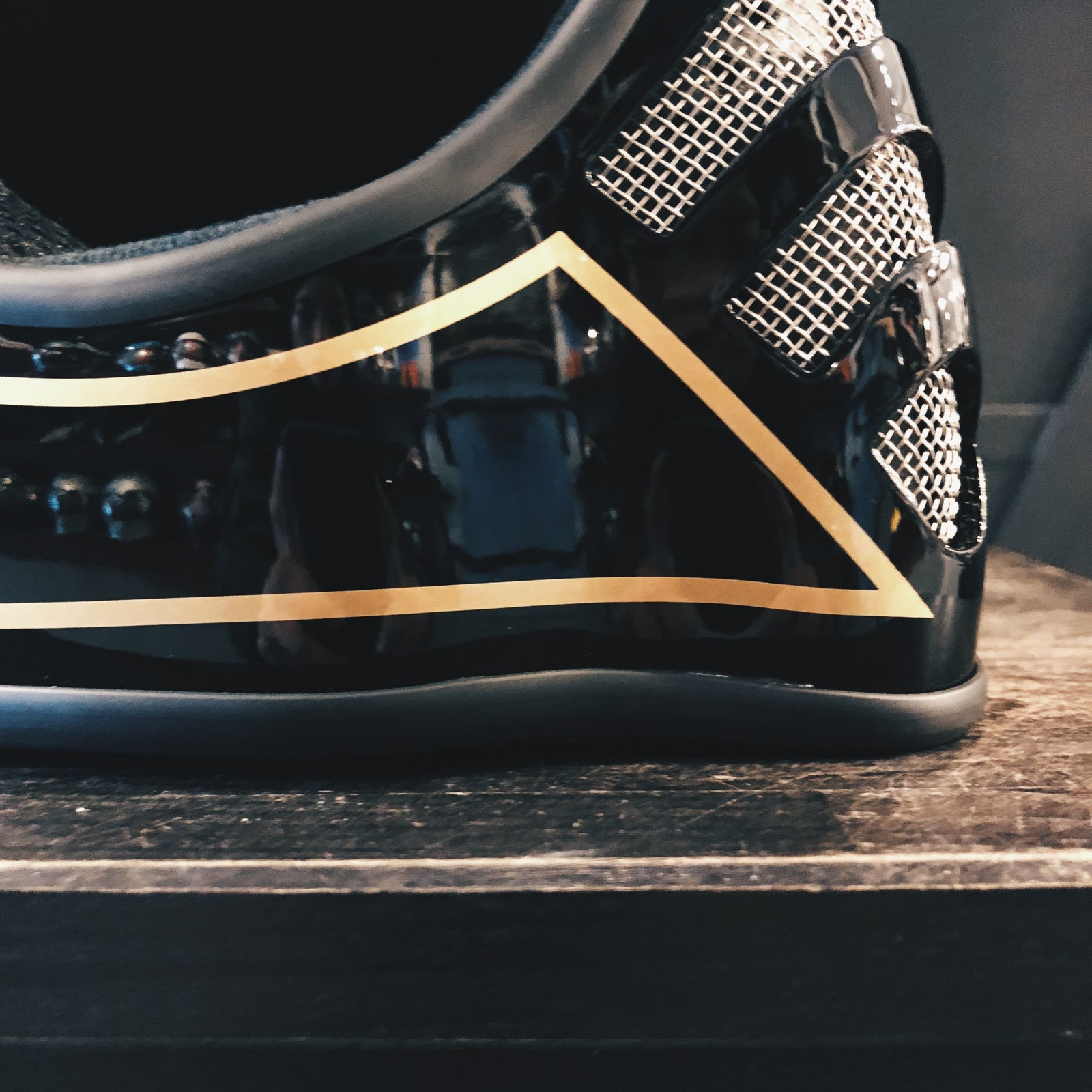 Motorwerks X Recs Helmet, Limited Edition - Black Gold Pinstripes