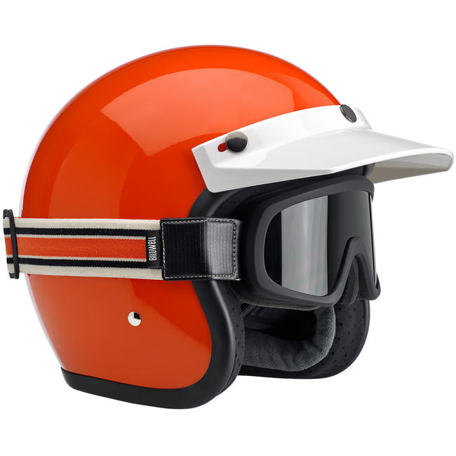 Biltwell Overland 2.0 Racer Goggle - Black Factory Strap Cream/Orange