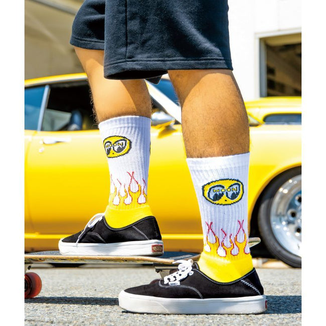Flamin' MOON Socks White
