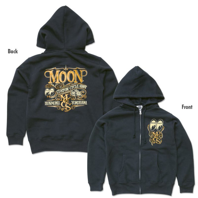 MOON Custom Cycle Shop Zip Hoodie Black