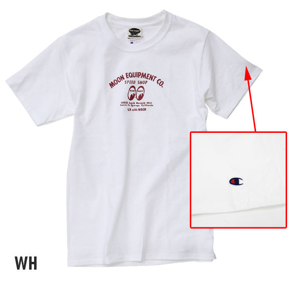 MOON Equipped X CHAMPION Speed Shop T-shirt White