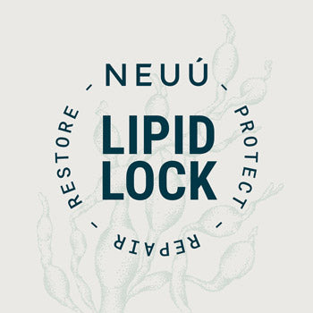 The NEUÚ lipid lock logo with the words protect repair restore written on top of a seaweed illustration