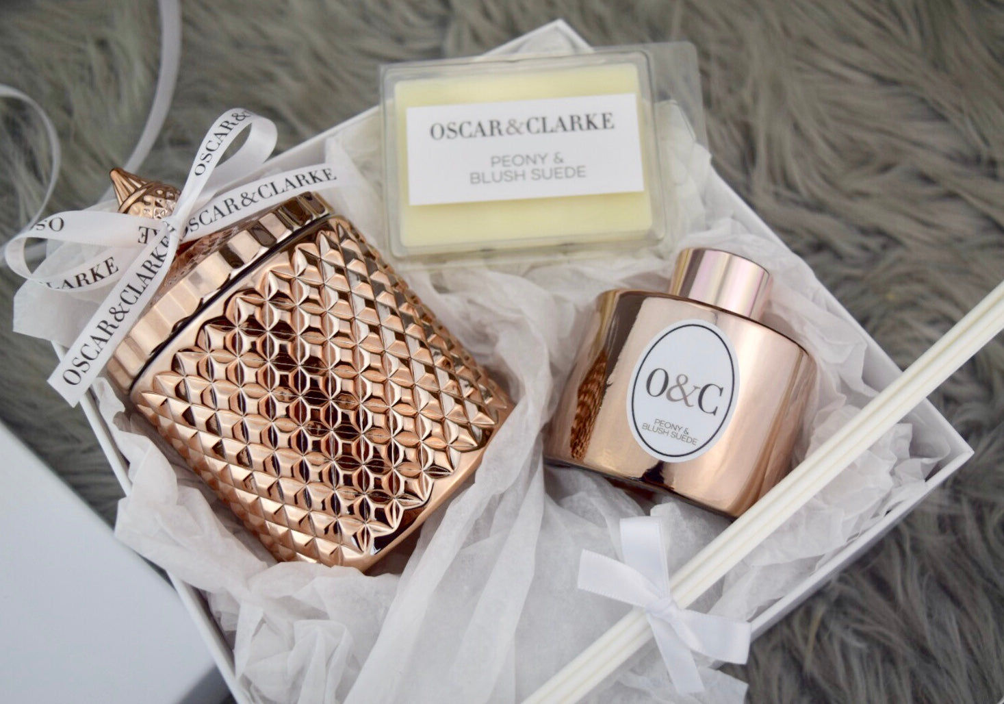 Rose Gold Diamond Geo, Reed Diffuser & Wax Melt Gift Set