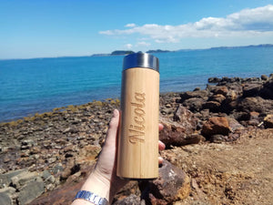 Personalised Bamboo & Stainless Steel Water bottle/Thermos 350ml