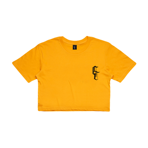bright yellow crop t-shirt with embroidery