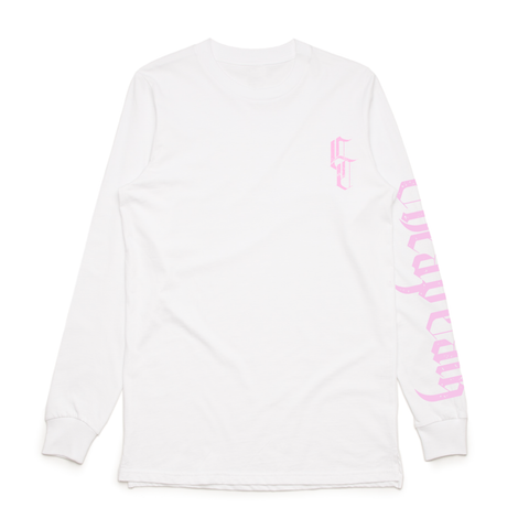 WHITE//BABY PINK MONOGRAM LONG SLEEVE