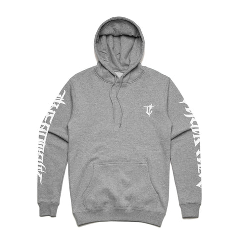 GREY HEAVYWEIGHT HOODIE - WITH SLEEVE PRINT