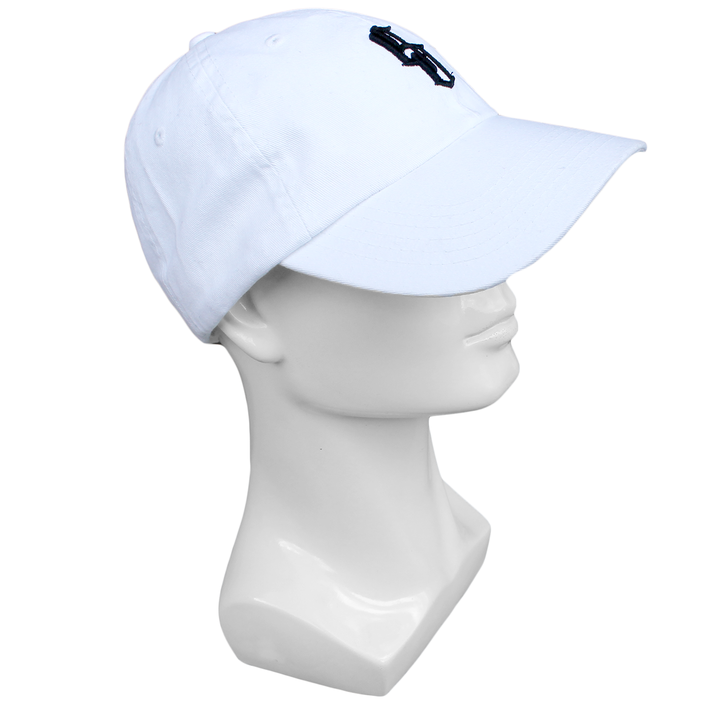 plain white baseball cap with black embroidery