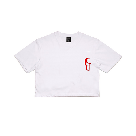 WHITE CROPPED T-SHIRT WITH RED LOGO POCKET PRINT