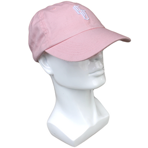 plain baby pink dad cap with white embroidery