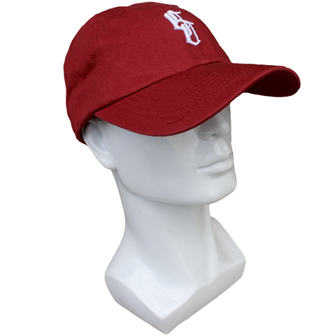 plain maroon baseball cap with white embroidery