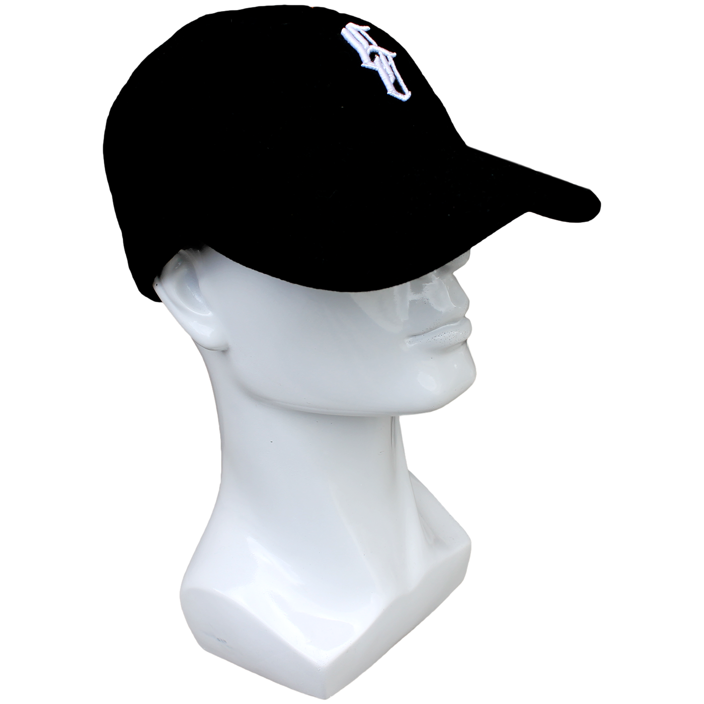 Plain black dad hat with white logo