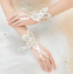 Sparkling Diamond Wedding Gloves Fingerless