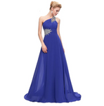 Chiffon One Shoulder Gown Dress. Assorted Colors/Plus Sizes