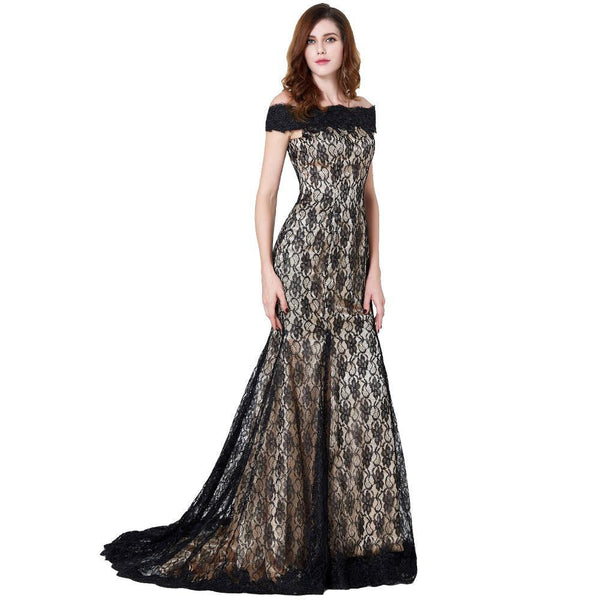 Boat Neck Lace Gown Dress
