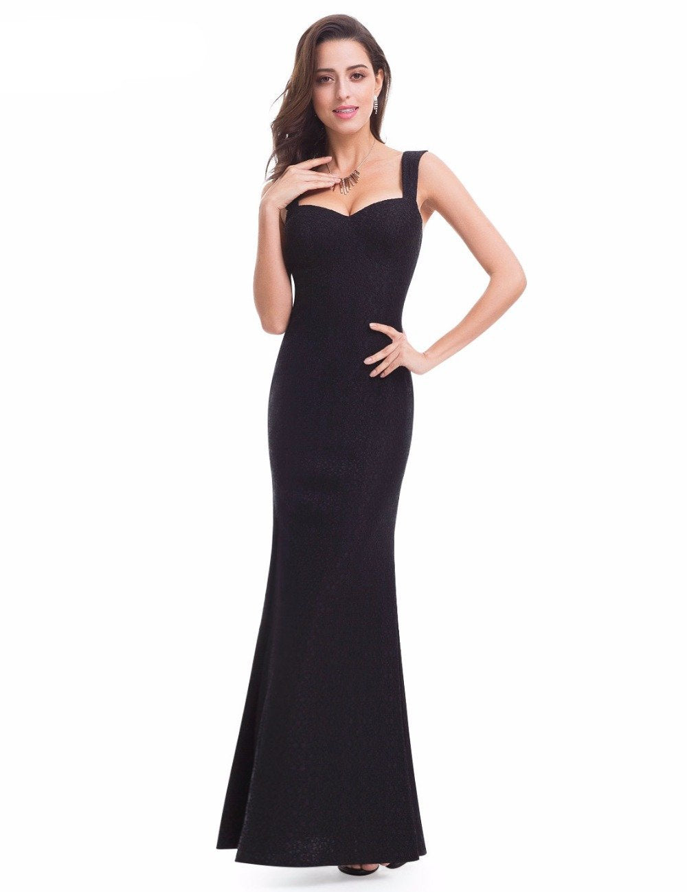 Evening Sexy Slip Lace Black Dress Ever Pretty EP07041 New Arrival 2017 Woman