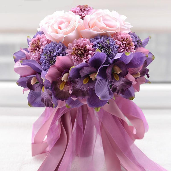 Beautiful Purple Pink Color Wedding Bouquet