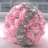 Princess Model Wedding Bouquet with Brooches and Rhinestones