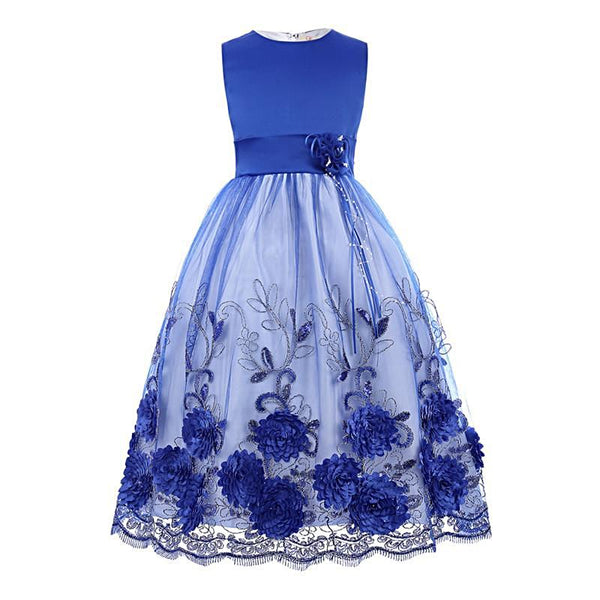 Blue Flower Girl Dress / Size 2-11 years