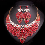 Bridal Jewelry Set Necklace and Earrings. Color Red!
