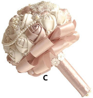 Beaded Crystal Artificial Wedding Bouquet Ivory Rose