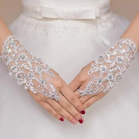 Short Bridal Gloves Fingerless