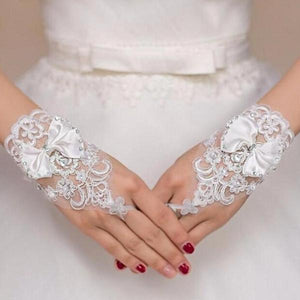 Wedding Gloves Beaded Short Fingerless