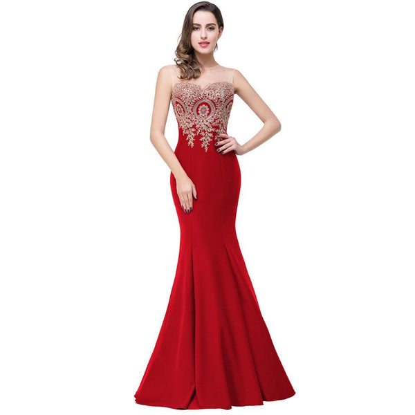Red Mermaid Gown Dress / Size S,M,L,XL