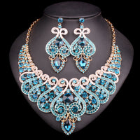 Sky Blue Bridal Jewelry Set Necklace and  Earrings