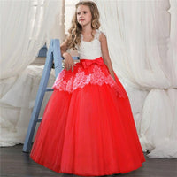 Kids Girls Clothes Lace Flower Fancy Bridesmaid Kids Dresses Children Princess Dress long Gowns Pageant Party Communion Cosutme