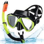 SNOWLEDGE Dry Snorkel Set, Snorkel Mask with Tempered Glass,Impact Resistant Panoramic View Anti-Fog Leak-Proof Scuba Diving Mask,Carry Bag Included