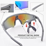 Snowledge Bike Sunglasses Sports Sunglasses For Men Women With 5 Interchangeable Lens,Polarized Cycling Sunglasses With Anti-Uv400 For Driving Fishing Glof