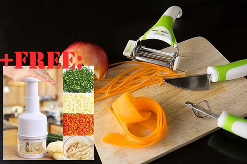 50% OFF PLUS FREE ONION CHOPPER!! TRIPLE SLICER: Vegetable Cutter, Peeler, Grater and Shaving Utensil (3 Piece Set)