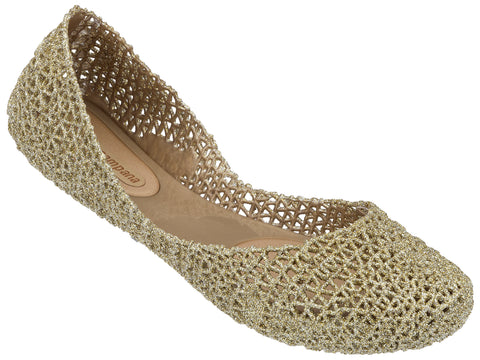 Melissa Women's gold netting jelly flats shoes