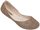 Melissa Women's rose gold netting jelly flats shoes