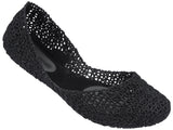 Melissa Women's black netting jelly flats shoes