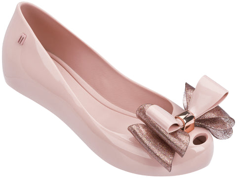 Melissa Women's pink jelly flats with tripple bow