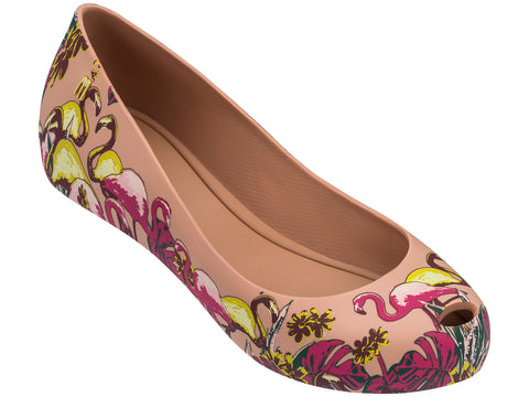 Melissa Women's nude jelly flats with flamingo pattern