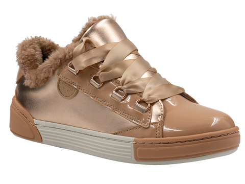 Recounter Women's Fashion Warm gold and beige fluffy sneakers