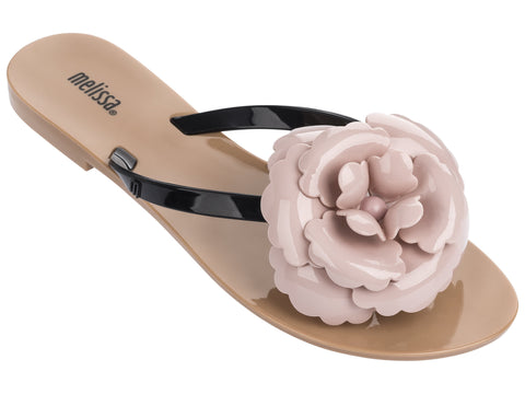 Melissa Women's pink jelly flip flops with flower bow