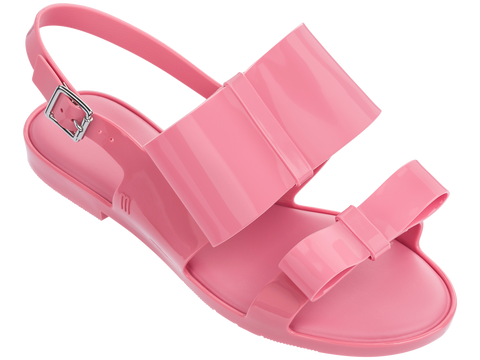 Melissa Women's pink jelly flats with 2 straps and bows