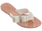Melissa Women's jelly flip flops with beige strap and bow