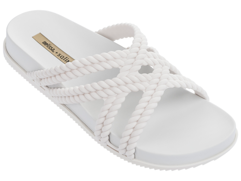 Melissa Women's white jelly flip flops with double cross strap