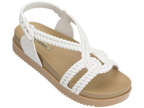 Melissa Women's white and brown jelly sandals with platform