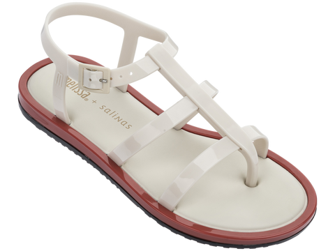 Melissa Women's white and brown jelly sandals with strap